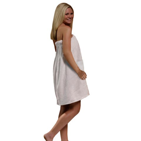 Women's Spa and Bath Terry Cloth Towel Wrap - White