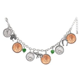 Silvertone Irish Penny Charm Bracelet