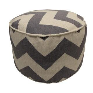 Jiti Grey/ Off-white Chevron Round Wool Pouf Ottoman