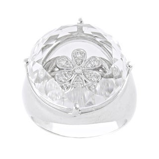 Beverly Hills Charms Visions Sterling Silver 1/10ct Diamond/ White Topaz Flower Ring (H-I, I2-3)