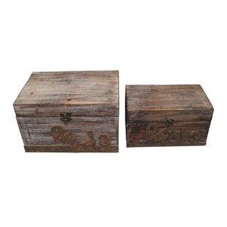 Handmade Set of 2 Rustic Distressed Decorative Wooden Boxes (China)