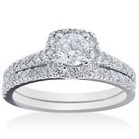14k White Gold 1 ct TDW Diamond Bridal Ring Set