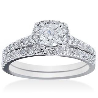 14k White Gold 1 ct TDW Diamond Bridal Ring Set