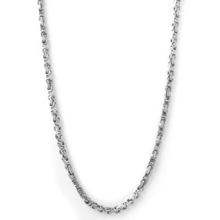 Stainless Steel Men's 24-inch Byzantine Chain Necklace