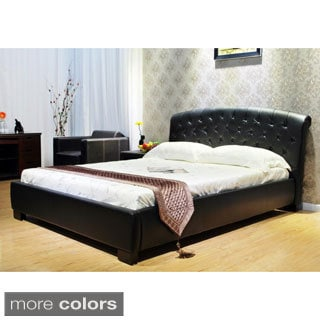 King Faux Leather Modern Platform Bed