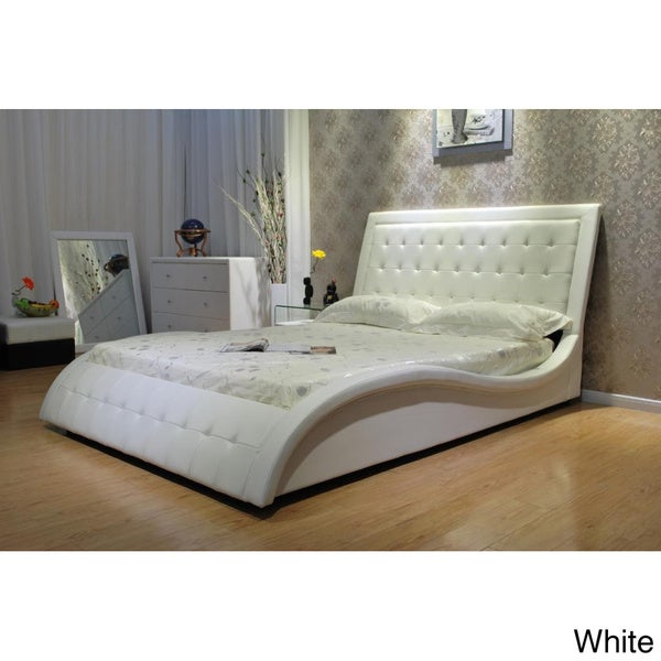 Faux Leather Queen-size Wave Bed