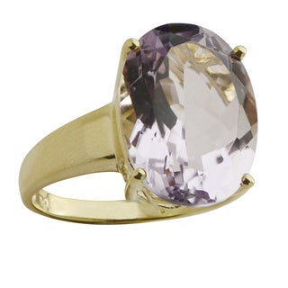 Gems For You 10k Yellow Gold Oval Amethyst Ring