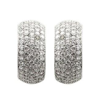 Gems For You Sterling Silver Cubic Zirconia Half Hoop Earrings
