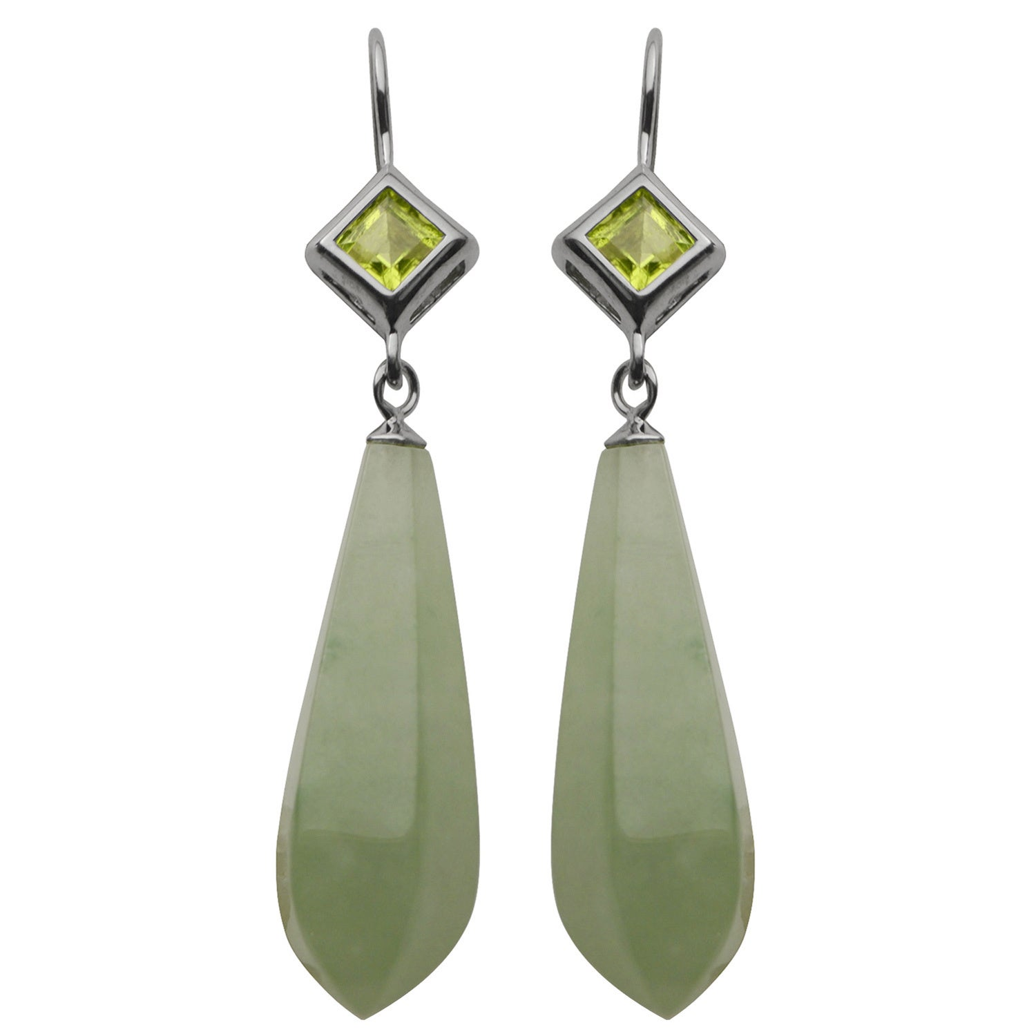 Jade And Peridot Dangle Earrings