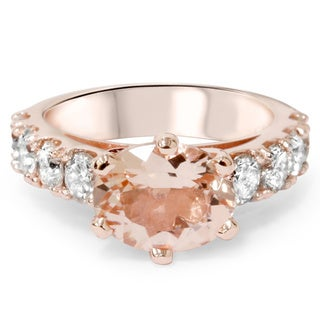Bliss 14k Rose Gold 1 3/5 ct TDW Diamond and Morganite Ring (I-J, I2-I3)