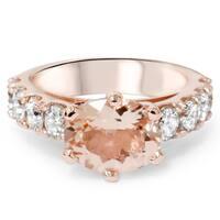 Bliss 14k Rose Gold 1 3/5 ct TDW Diamond and Morganite Ring (I-J, I2-I3)