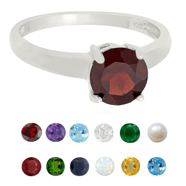 Dolce Giavonna Sterling Silver Birthstone Ring (7 mm)