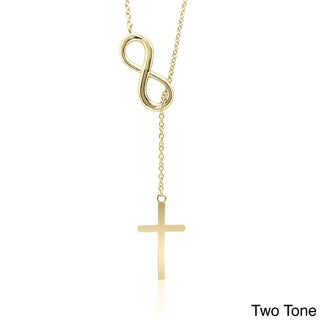 Dolce Giavonna Sterling Silver Infinity and Cross Y Necklace (3 options available)