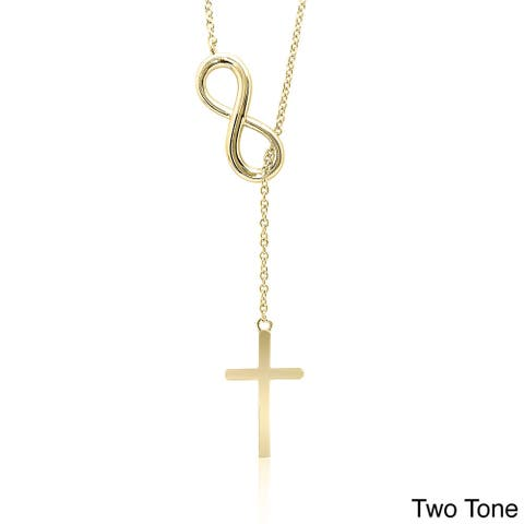 Dolce Giavonna Sterling Silver Infinity and Cross Y Necklace