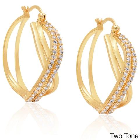 Dolce Giavonna Sterling Silver Cubic Zirconia Twist Hoop Earrings