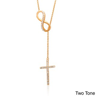 Dolce Giavonna Sterling Silver Cubic Zirconia Infinity and Cross Y Necklace (3 options available)
