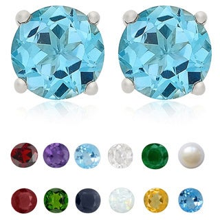 Dolce Giavonna Sterling Silver Gemstone 6 mm Birthstone Stud Earrings (Option: February)