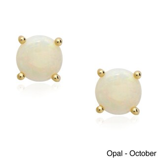 Dolce Giavonna Gold Over Silver Gemstone Birthstone Stud Earrings (More options available)