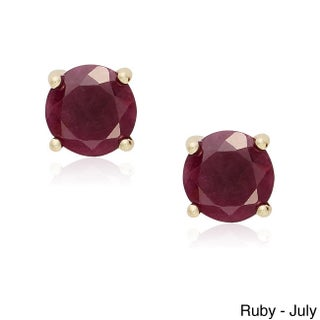 Dolce Giavonna Gold Over Silver Gemstone Birthstone Stud Earrings (2 options available)