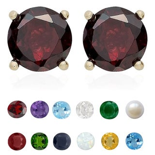 Dolce Giavonna Gold Over Silver Gemstone Birthstone Stud Earrings