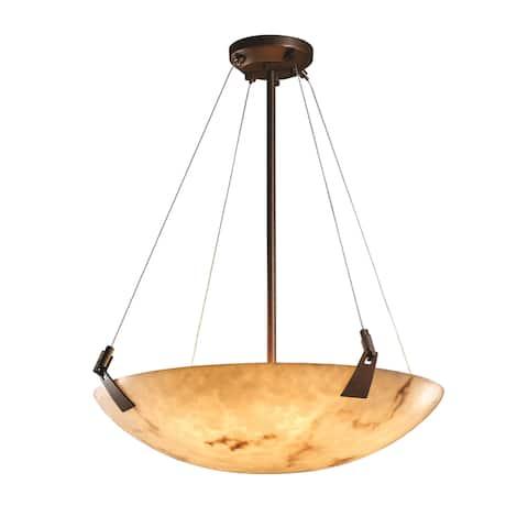 LumenAria Tapered Clips 6-light Dark Bronze Round Bowl Pendant, Faux Alabaster Shade