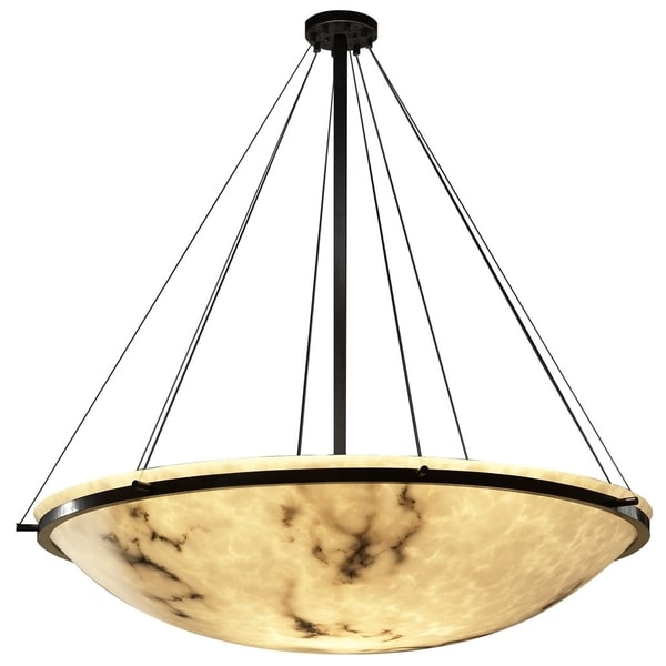 Justice Design Group LumenAria Ring 8-light Dark Bronze Round Bowl Pendant, Faux Alabaster Shade