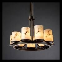Justice Design Group LumenAria Dakota 9-light Dark Bronze Chandelier, Faux Alabaster Cylinder - Flat Rim Shade