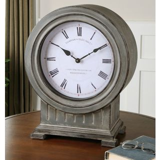 Uttermost Chouteau Dusty Grey Antiqued Mantel Clock