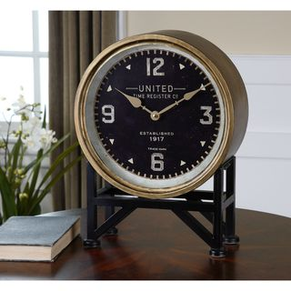 Link to Uttermost Shyam Iron and Glass Vintage-inspired Mantle Clock Similar Items in Decorative Accessories