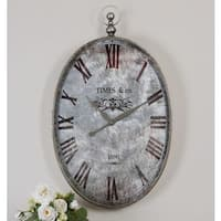 Uttermost Argento Brushed Aluminum Distressed Wall Clock