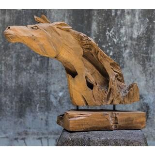Uttermost Teak Wood Mantled Horse Sculpture