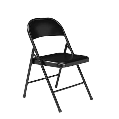 (4 Pack) Commercialine All Steel Folding Chair, Black