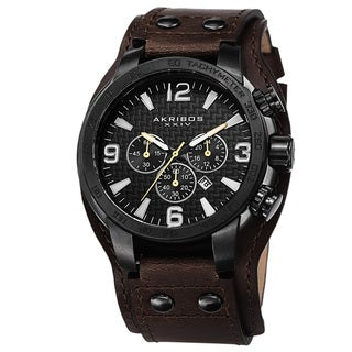 Akribos XXIV Men's Tachymeter Multifunction Leather Black Strap Watch with FREE GIFT