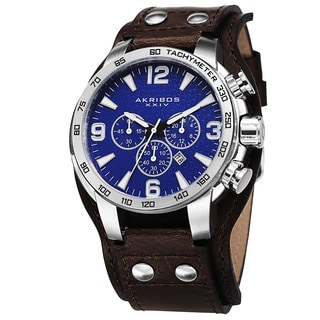 Akribos XXIV Men's Tachymeter Multifunction Leather Blue Strap Watch