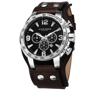 Akribos XXIV Men's Tachymeter Chronograph Leather Silver-Tone Strap Watch