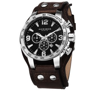 Akribos XXIV Men's Tachymeter Chronograph Leather Silver-Tone Strap Watch with FREE GIFT