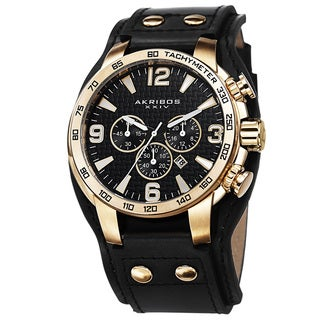 Akribos XXIV Men's Tachymeter Multifunction Leather Gold-Tone Strap Watch with FREE GIFT