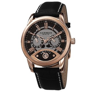 Akribos XXIV Men's Multifunction Step Dial Leather Rose-Tone Strap Watch