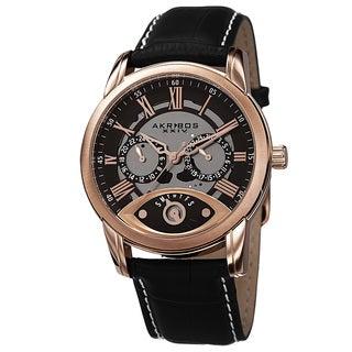 Akribos XXIV Men's Multifunction Step Dial Leather Rose-Tone Strap Watch
