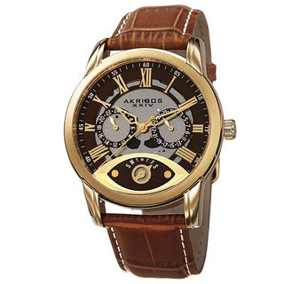 Akribos XXIV Men's Multifunction Step Dial Leather Gold-Tone Strap Watch