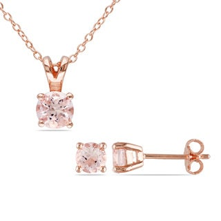 Miadora Rose Plated Silver 1 4/5ct TGW Morganite Necklace and Earrings Set