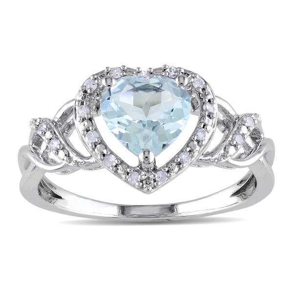 Miadora Sterling Silver Aquamarine and 1/10ct TDW Diamond Heart Ring (H-I, I2-I3)