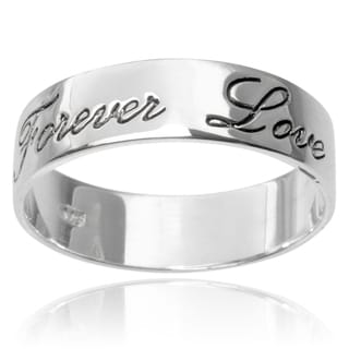 Journee Collection Sterling Silver Forever Love Band (6MM)