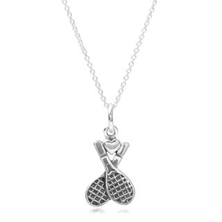 Journee Collection Sterling Silver Double Tennis Racket Pendant Necklace