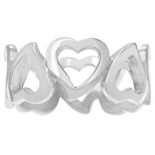 Journee Collection Sterling Silver Cutout Heart 8mm Band