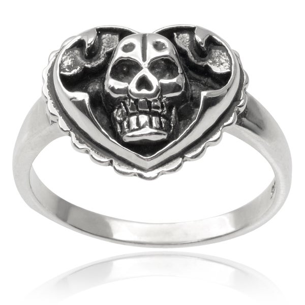 Journee Collection Sterling Silver Heart with Skull Ring
