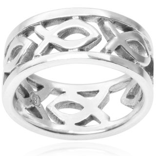 Journee Collection Sterling Silver Christian Fish Band (8MM)
