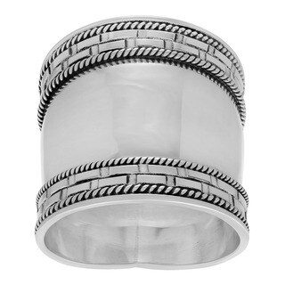 Sterling Silver Bali Design Cigar Band Ring