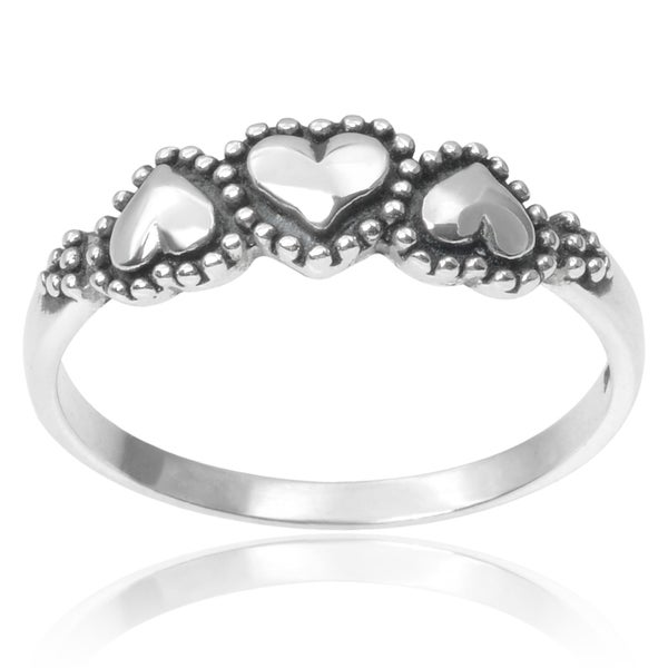 Journee Collection Sterling Silver Three Heart Ring