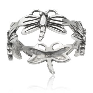 Journee Collection Sterling Silver Dragonfly Band (9 mm)
